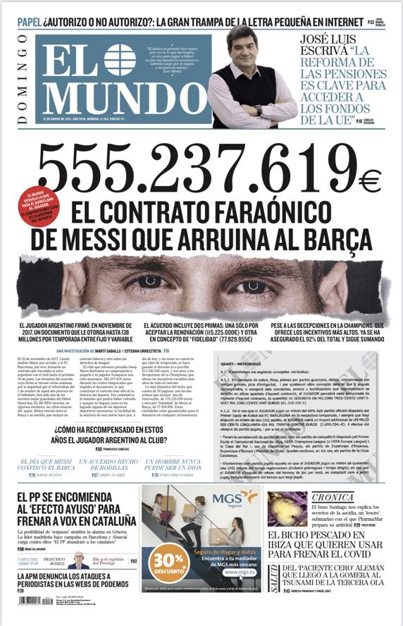 Cover of 'El Mundo' from January 31, 2021 / Networks
