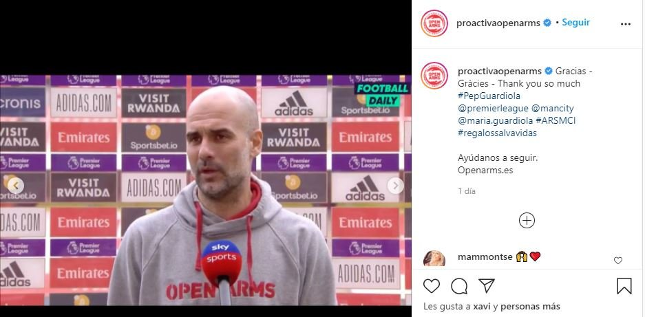Pep Guardiola Open Arms INSTAGRAM