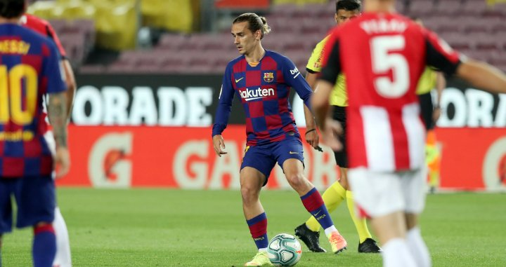 Griezmann durante el Barça-Athletic Club / EFE